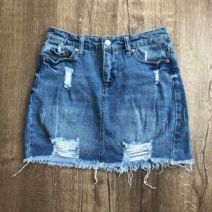 Wild Fable Distressed Jean Medium Wash Mini Skirt